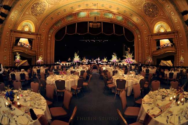 Wedding Reception at historic Morris Performing Arts Center with platforming over theater seats