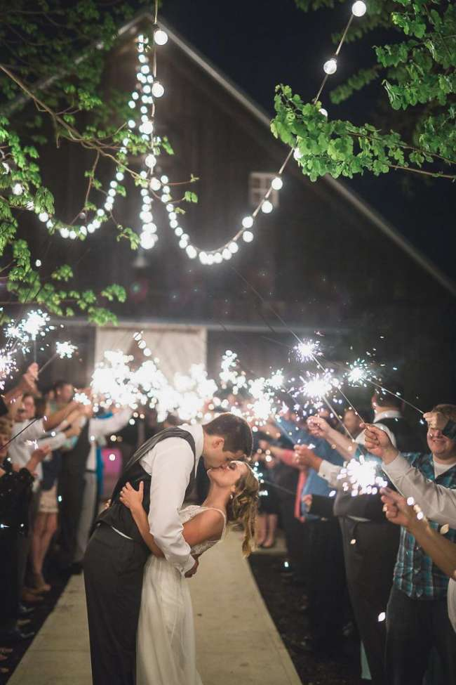 Rustic Barn Wedding Sparkler Send-Off | WeddingDay Magazine