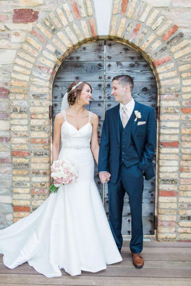 Fit and Flare Wedding Gown and Navy Tux | WeddingDay Magazine
