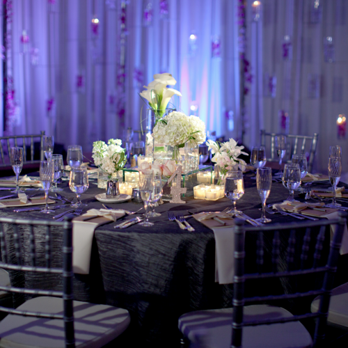 Blue-themed wedding reception