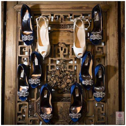 Bride's & Bridesmaids' Shoes on Antique Door