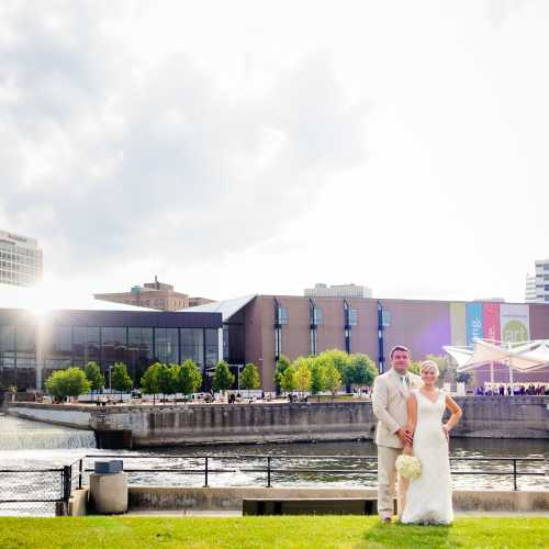Bride & Groom in Front of the Century Center